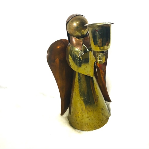 Copper and brass angel candleholder